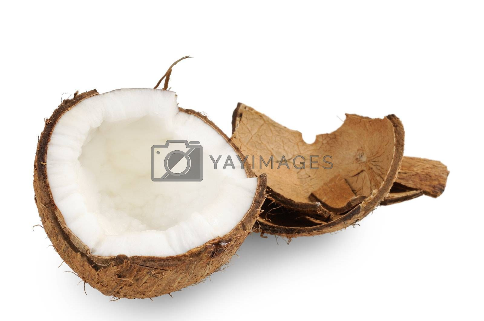 Fresh coconut and coconut shells. Isolated on white.
