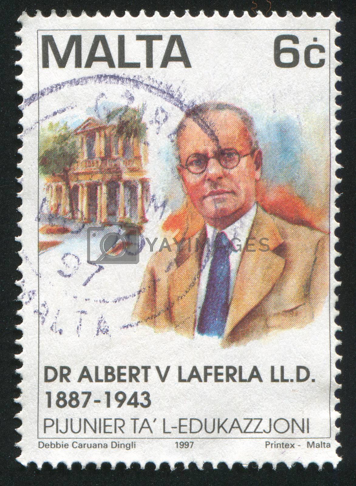 MALTA - CIRCA 1997: stamp printed by Malta, shows Dr. Albert V. Laferla, circa 1997