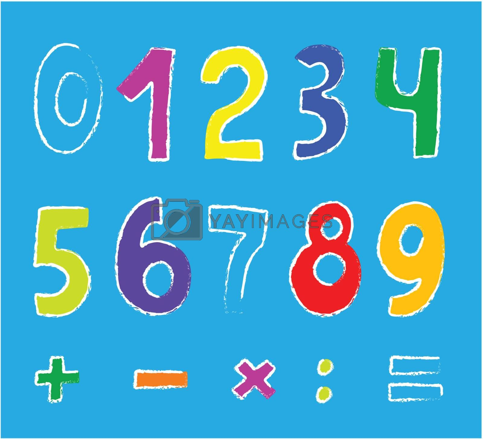 vector set of color numbers on blue