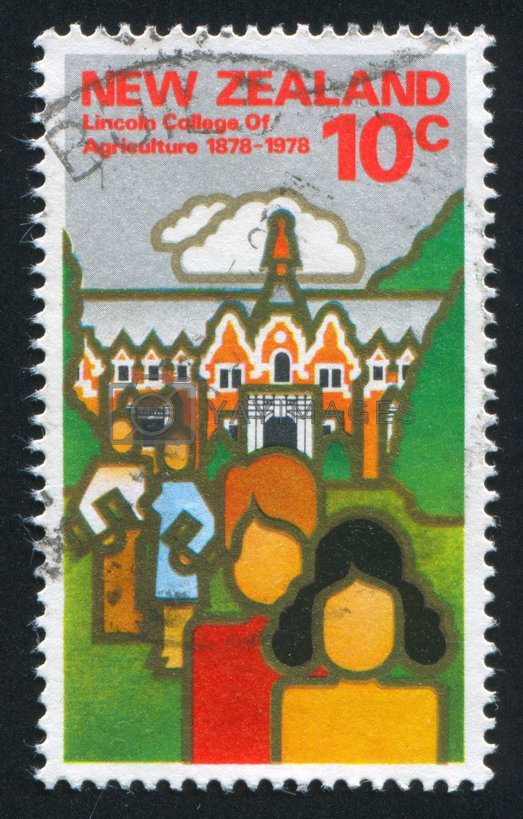 NEW ZEALAND - CIRCA 1978: stamp printed by New Zealand, shows students and Ivey Hall, circa 1978