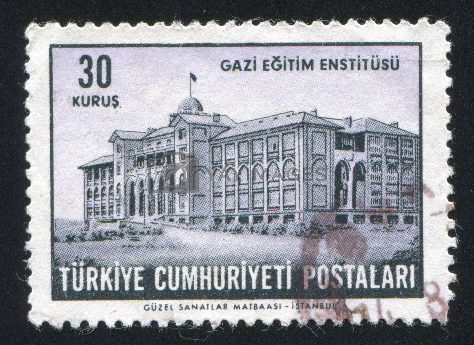 TURKEY - CIRCA 1963: stamp printed by Turkey, shows Gazi Institute of Education,  circa 1963