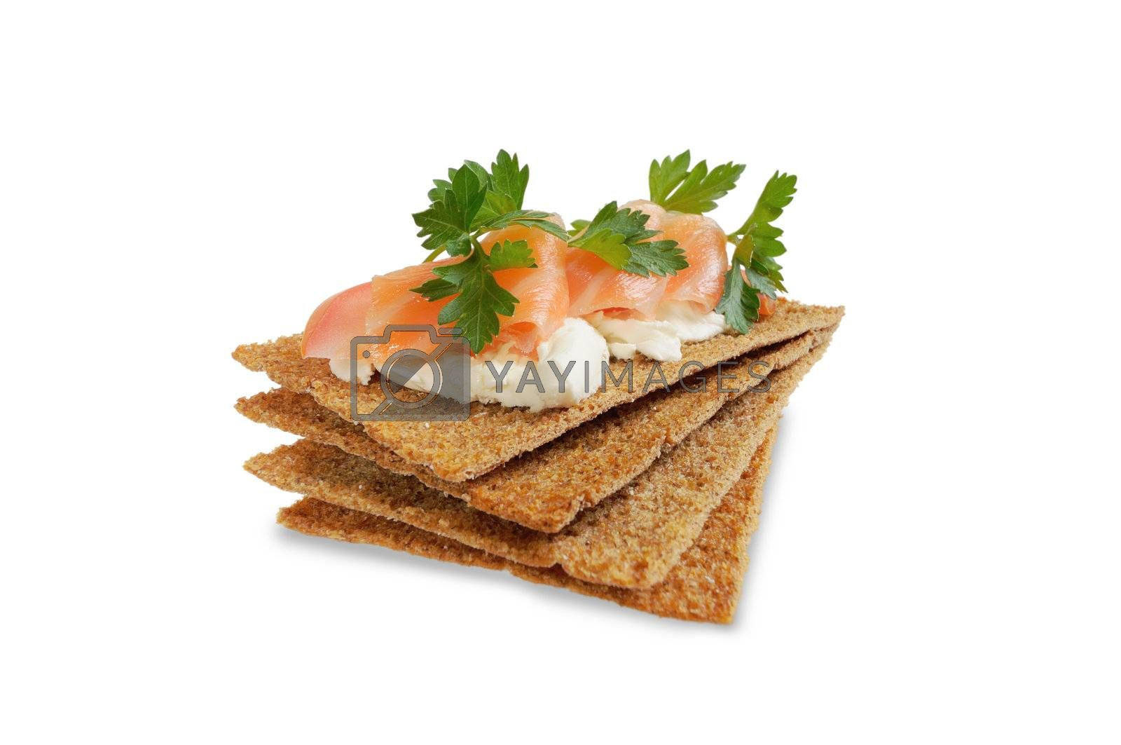 Snack. Bread with feta cheese and salmon. Isolated on white.