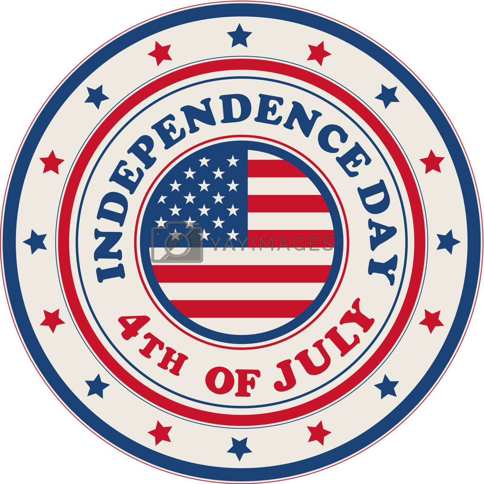 4th of July, Independence Day stamp over white background