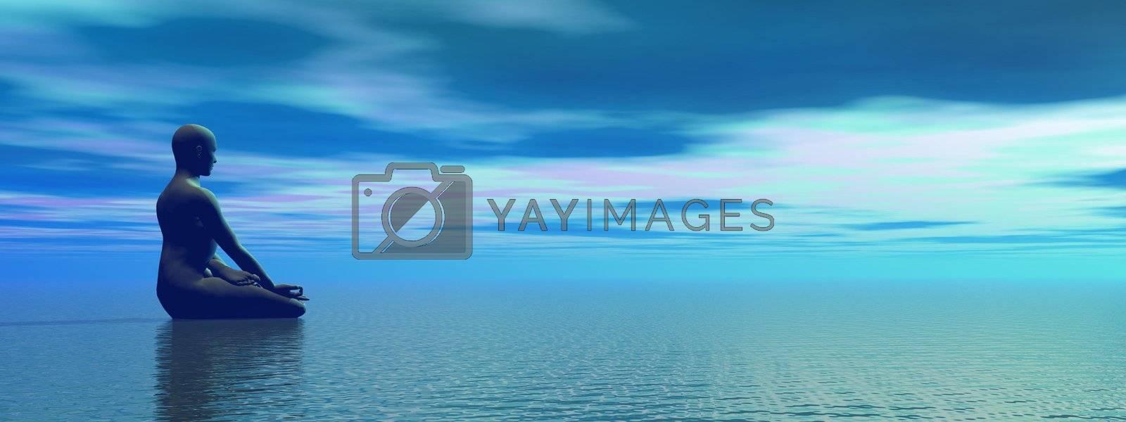 Man meditating upon the ocean by beautiful dawn