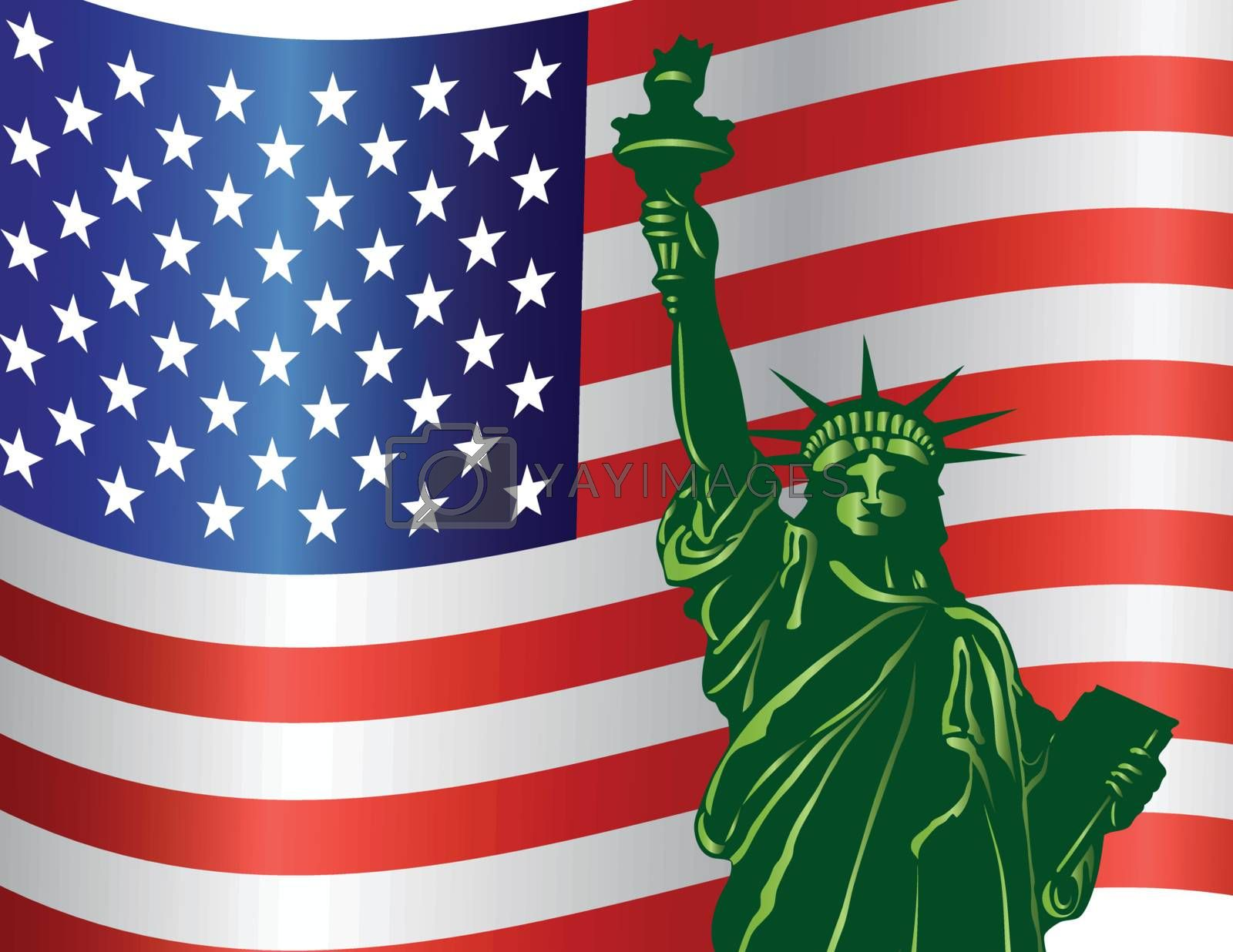 Fourth of July Independence Day Statue of Liberty with USA American Flag Illustration