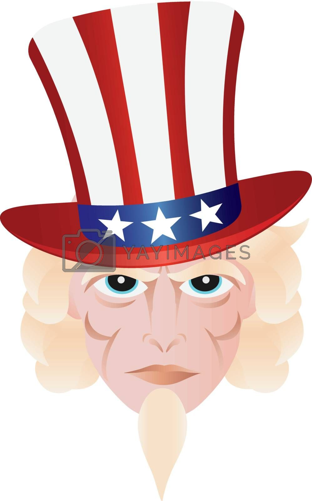 Uncle Sam in Fourth of July Hat on Independence Day Illustration