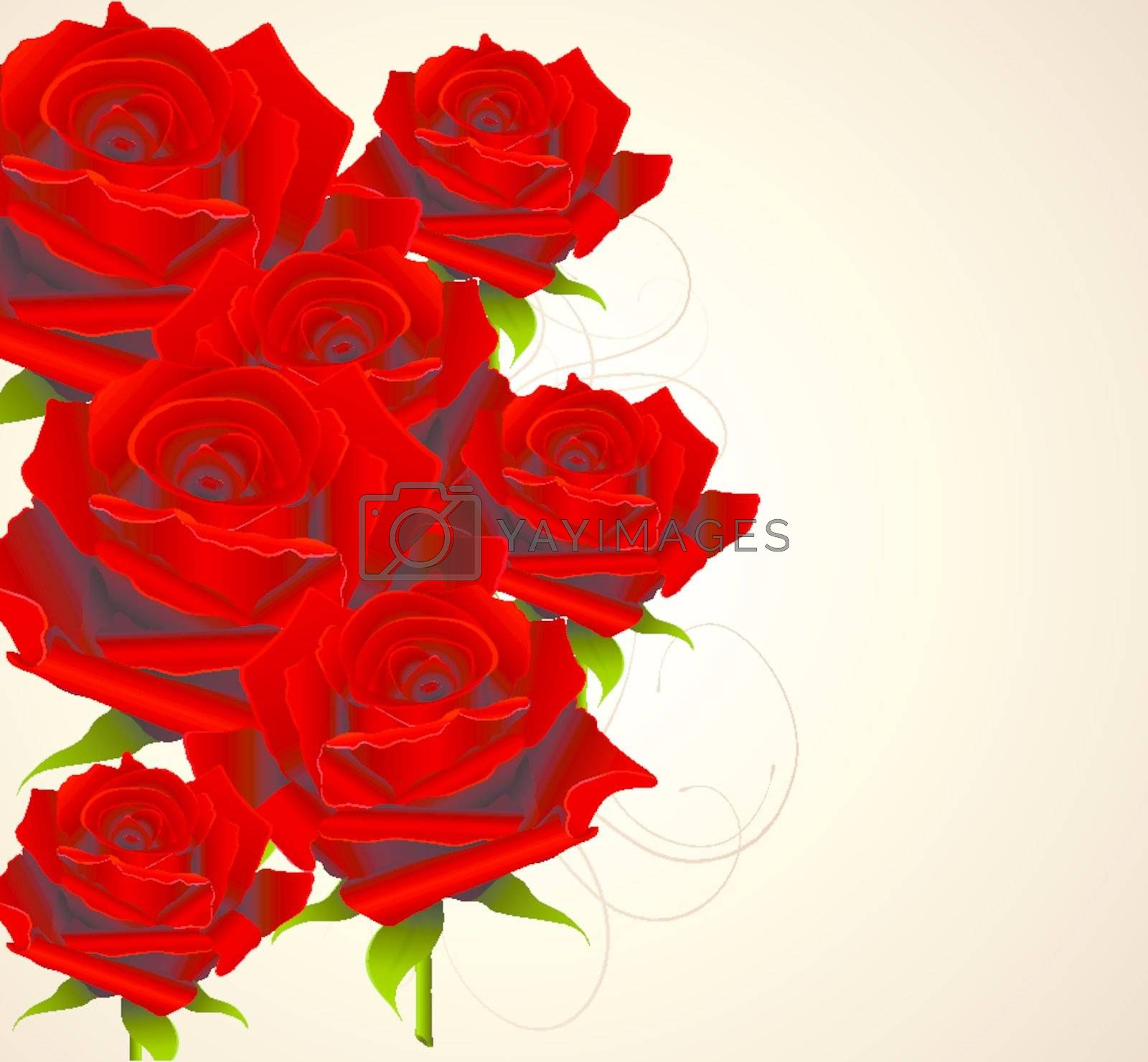 Elegant background with roses, vector illustration.