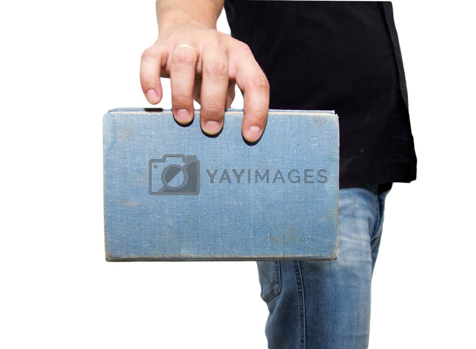 man holding a book on a white background