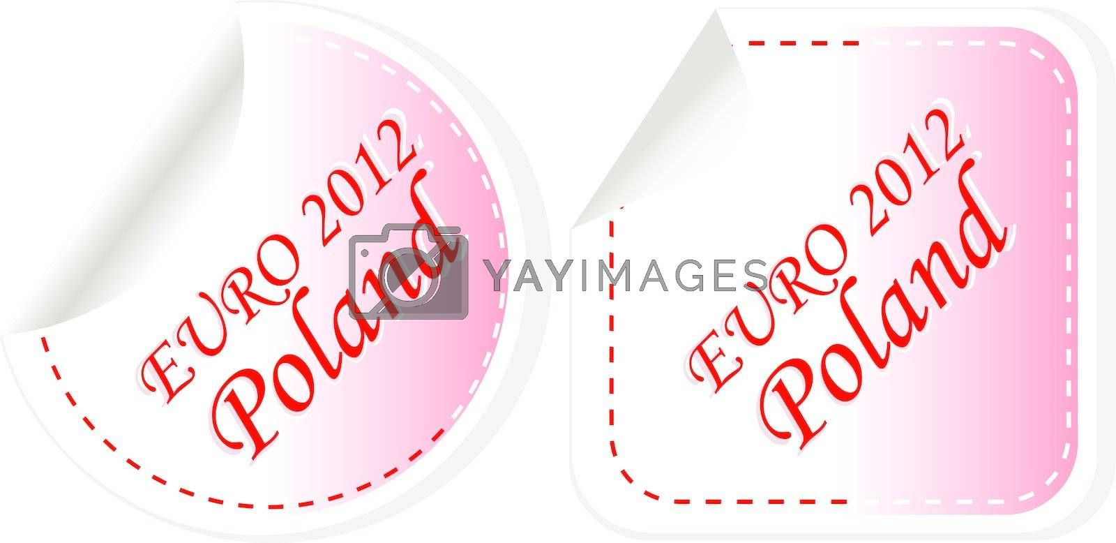 poland euro 2012 in flag colors sticker set. vector illustration
