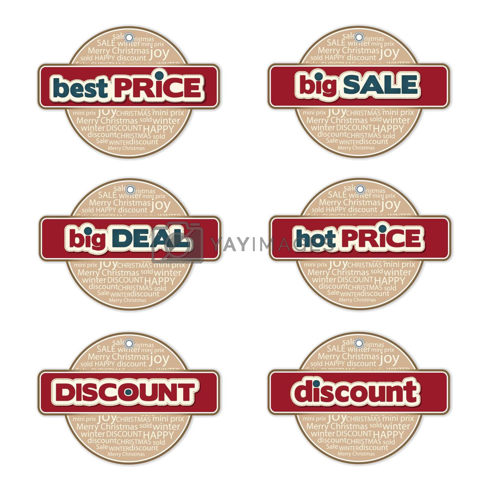 set of promotional Christmas labels
