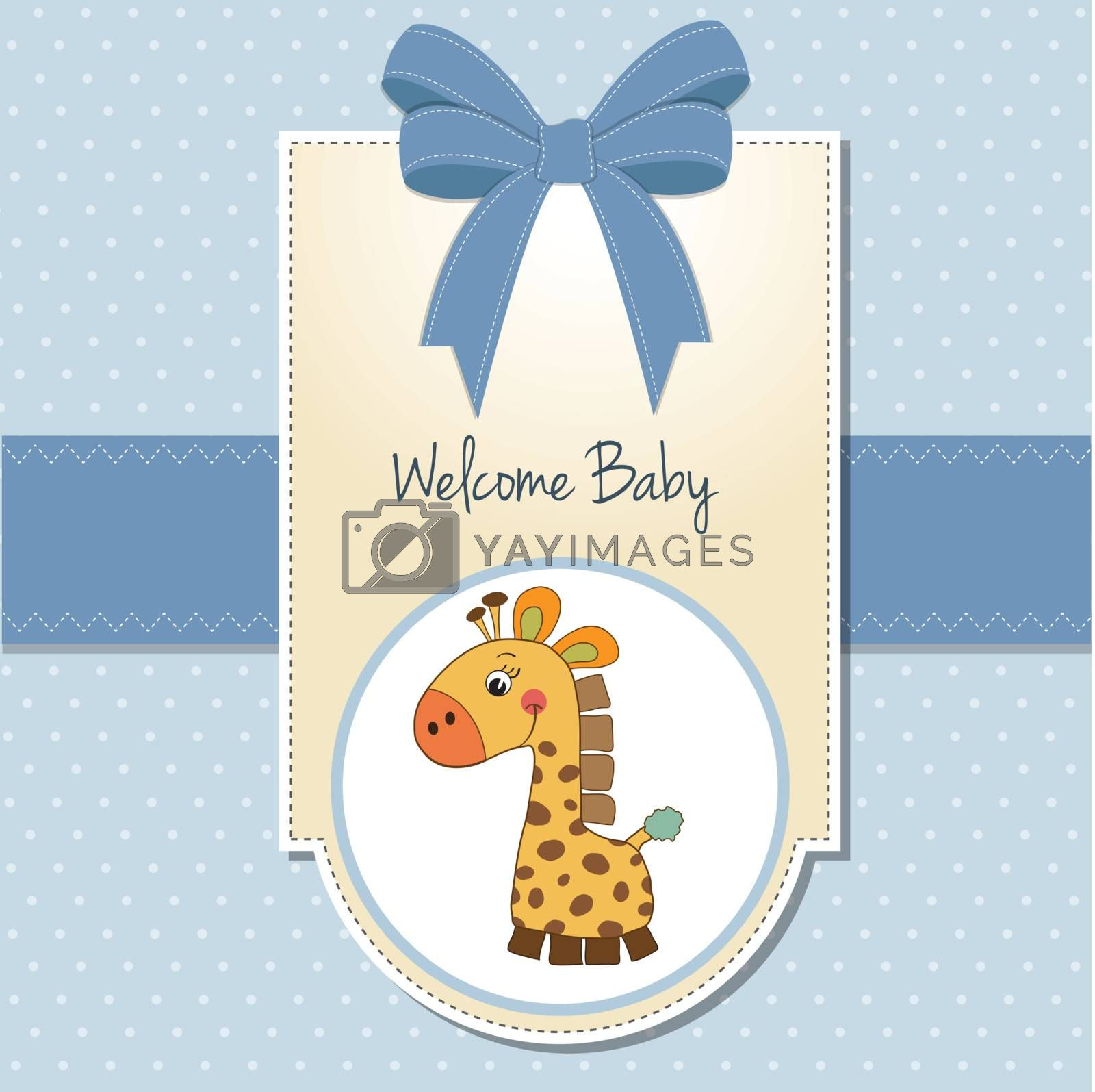 baby boy welcome card with giraffe