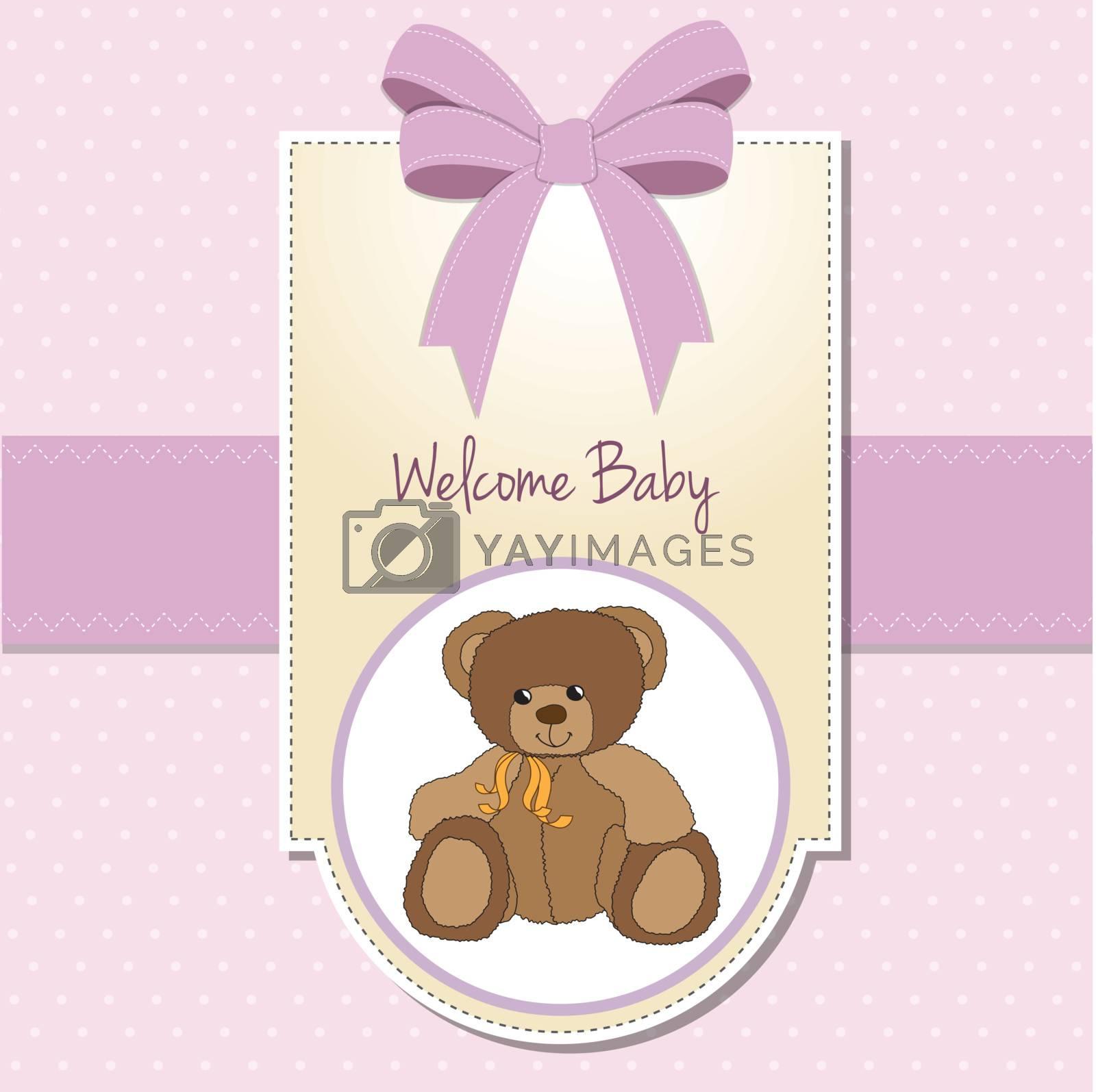 baby girl welcome card with teddy bear