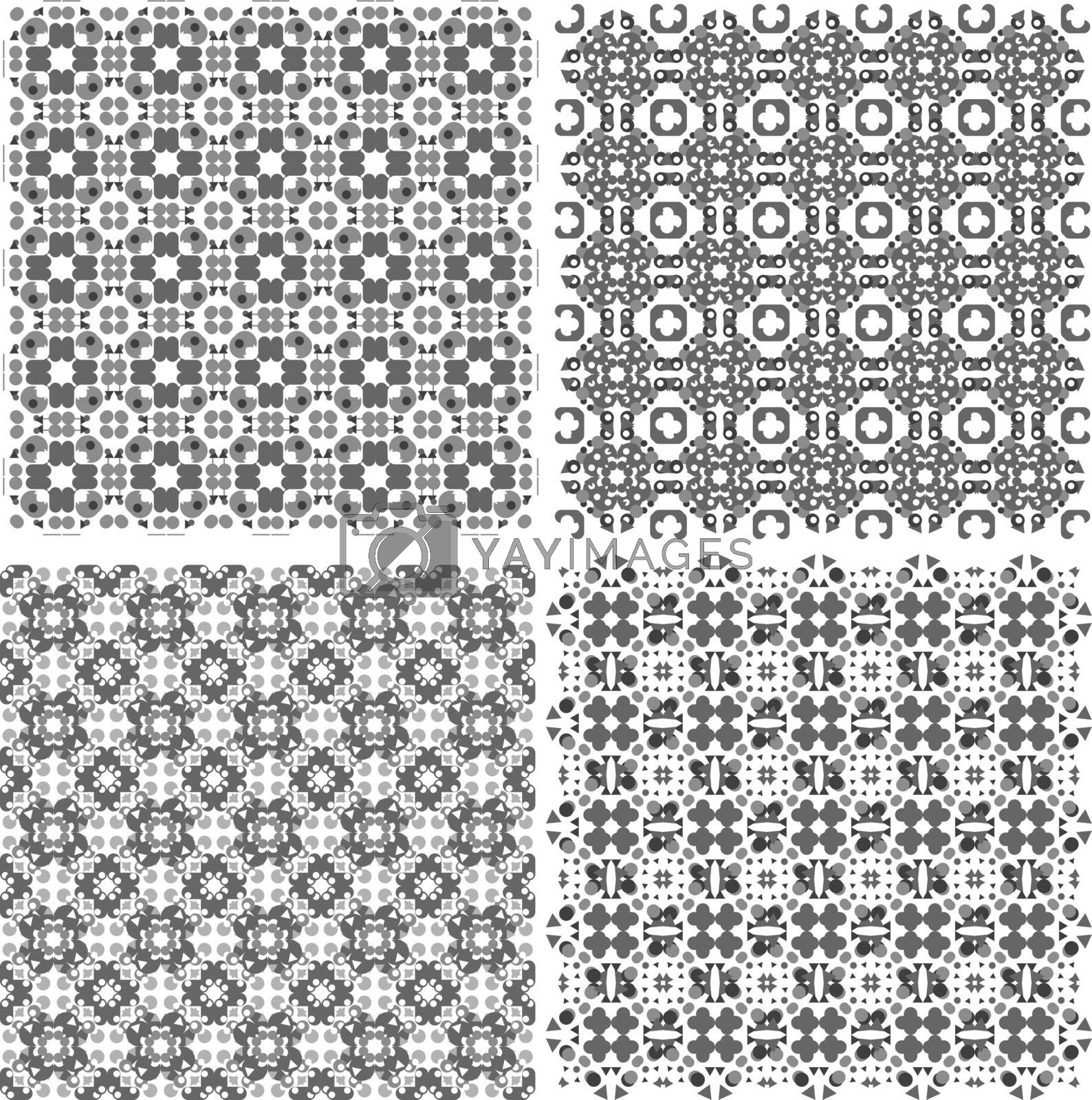 monochrome geometric seamless patterns set. Vector backgrounds collection.