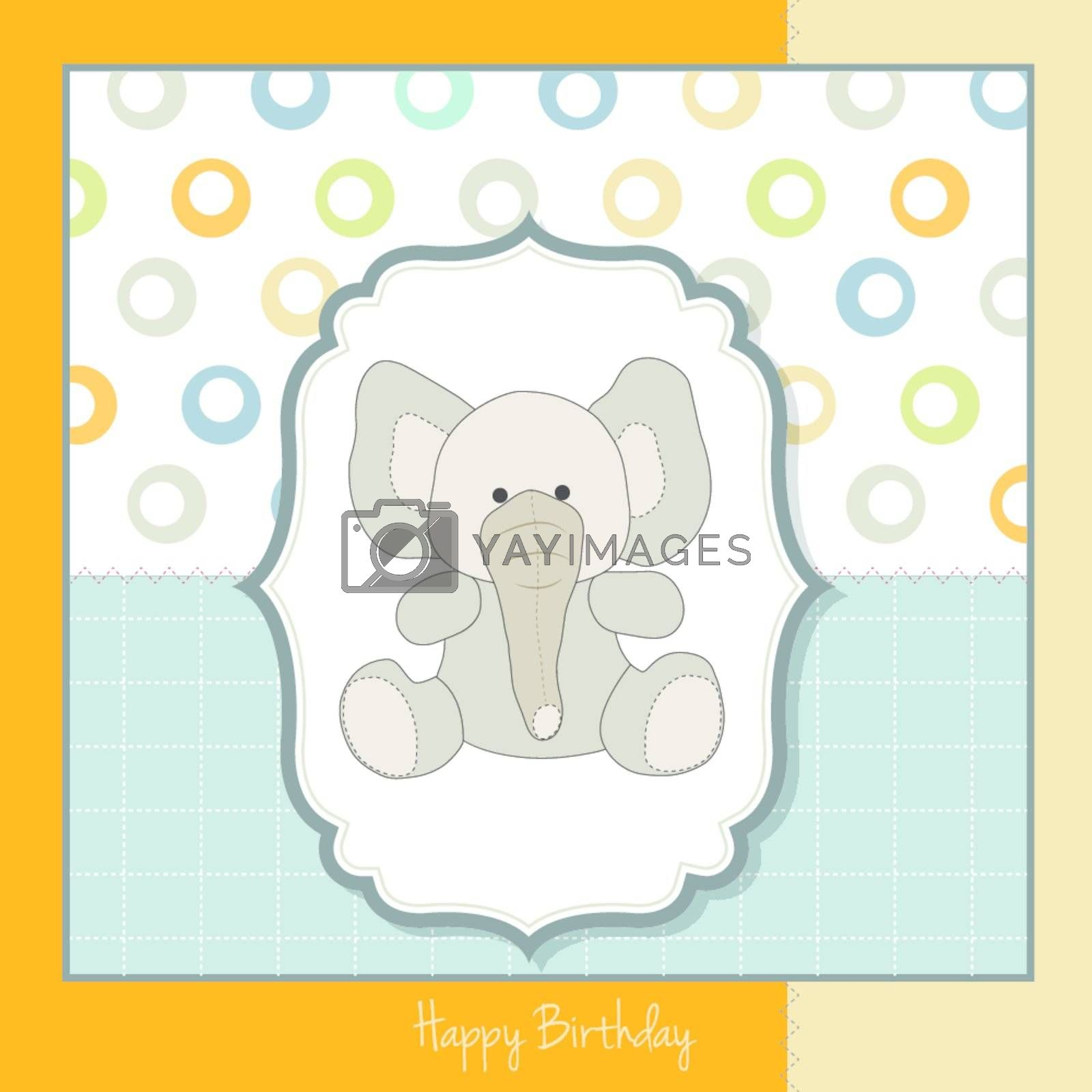 birthday greeting card with baby elephant