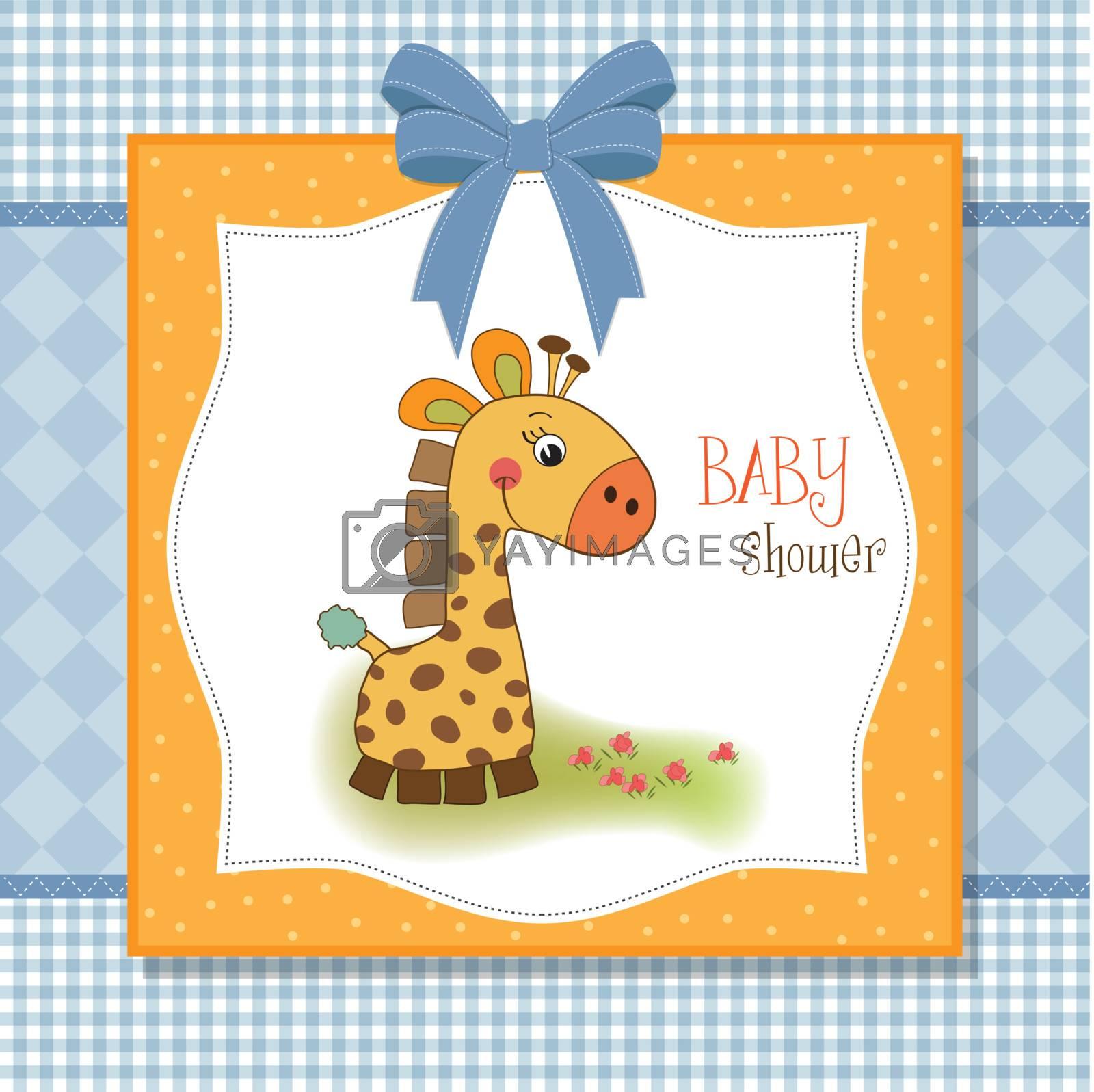 welcome baby card with giraffe
