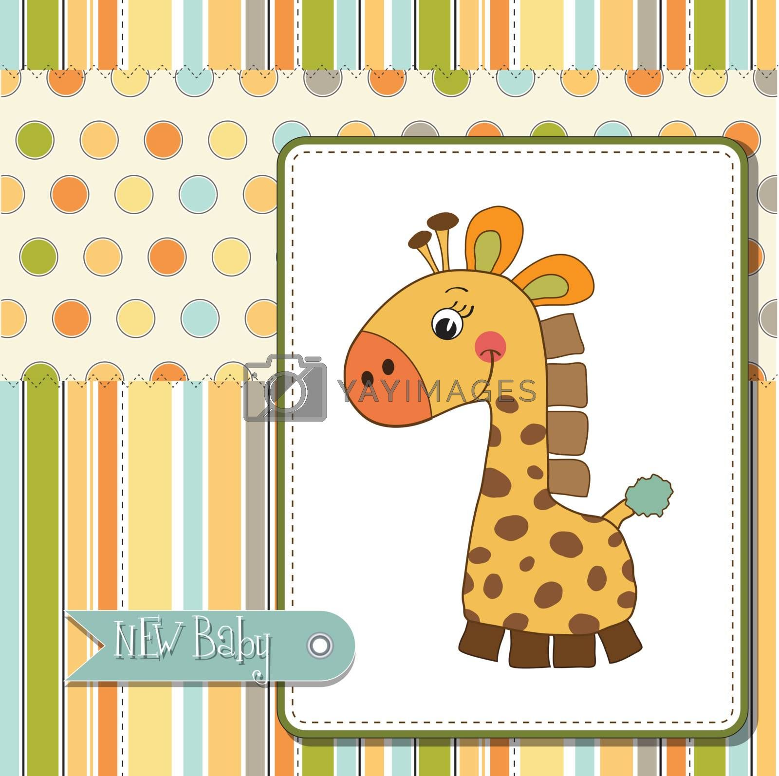 welcome baby card with giraffe