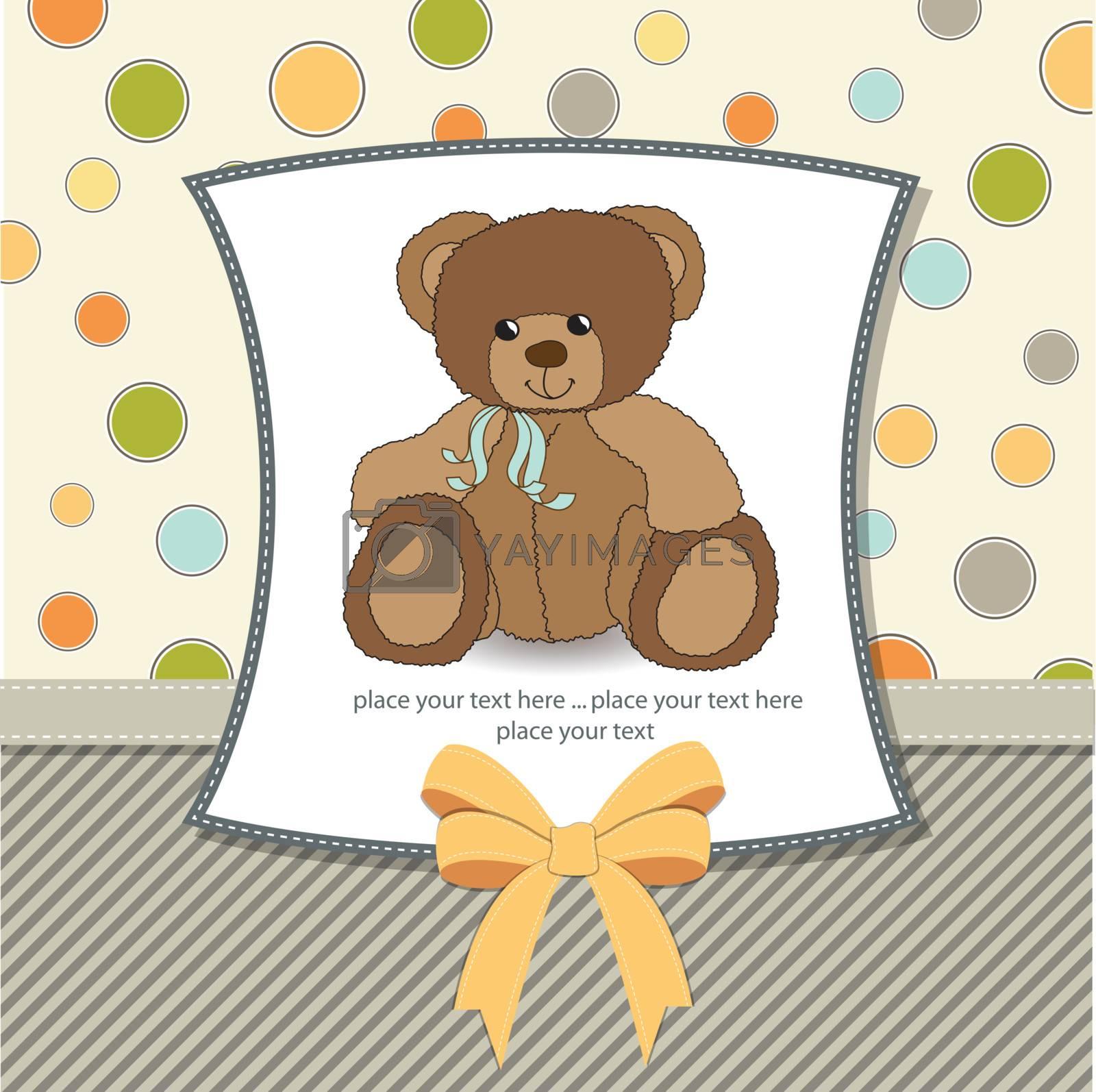 customizable greeting card with teddy bear
