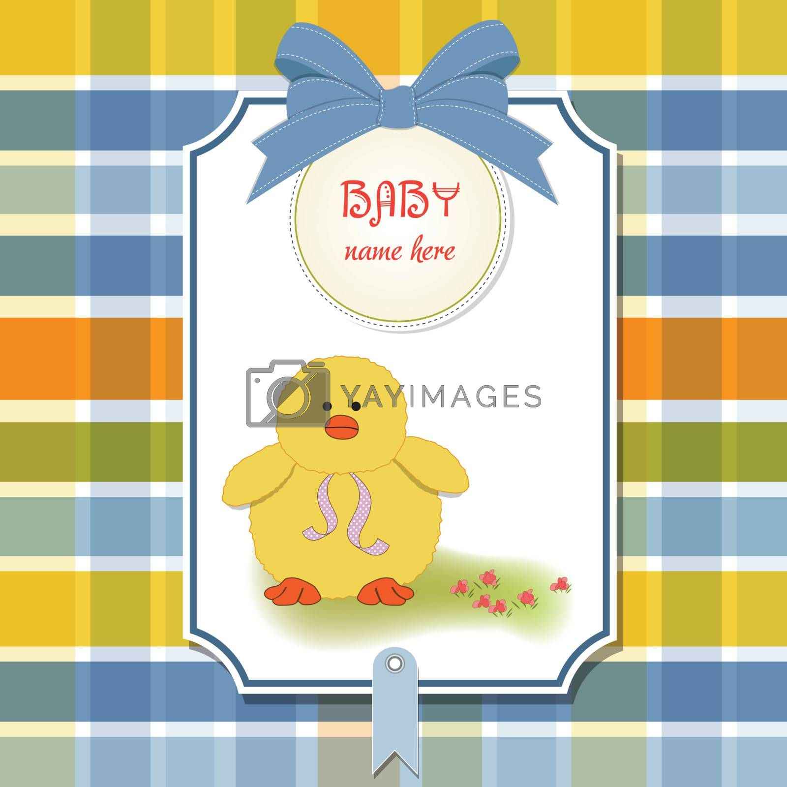 new baby card with little duck