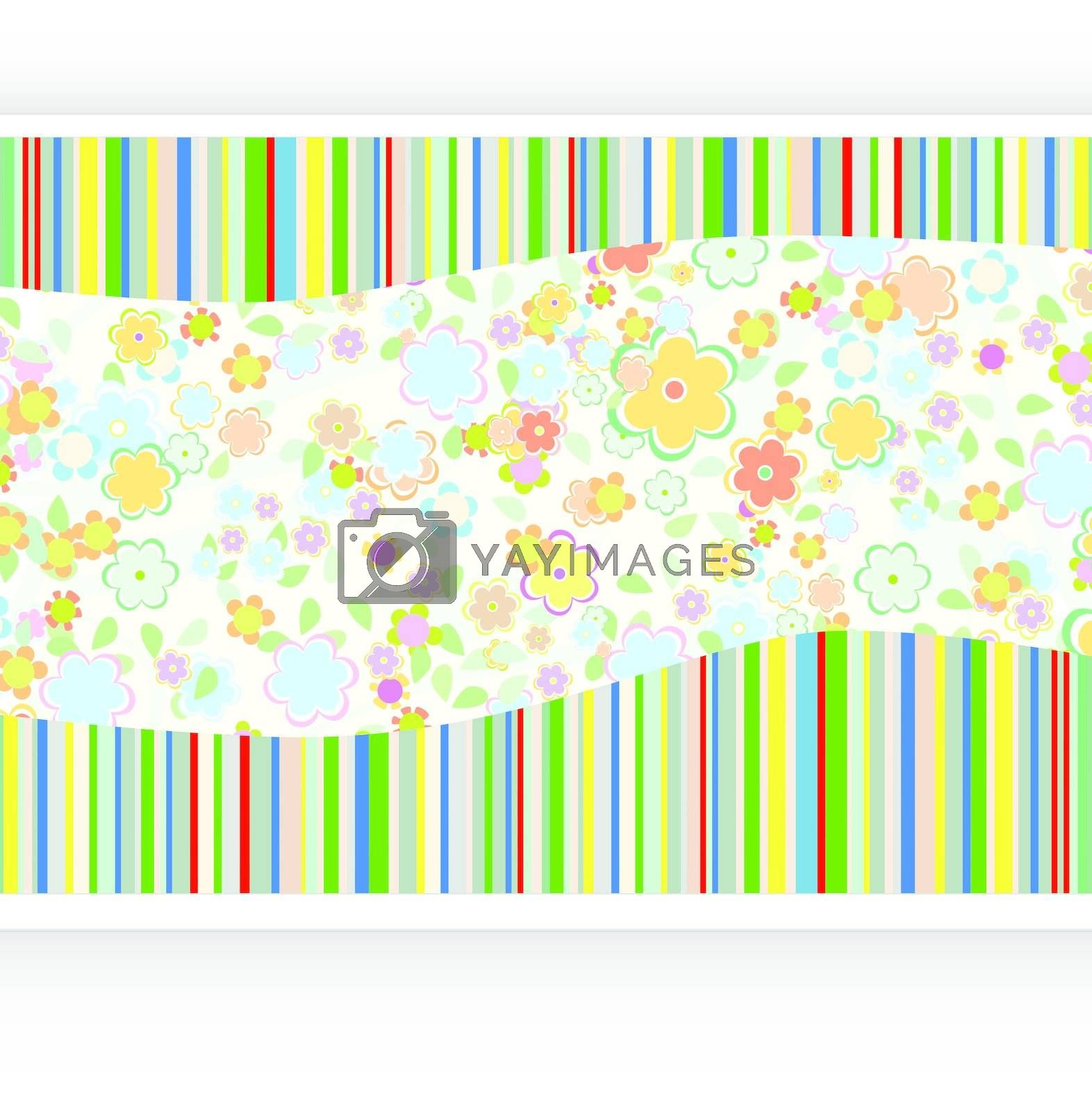 vector vintage background with paper card and flowers