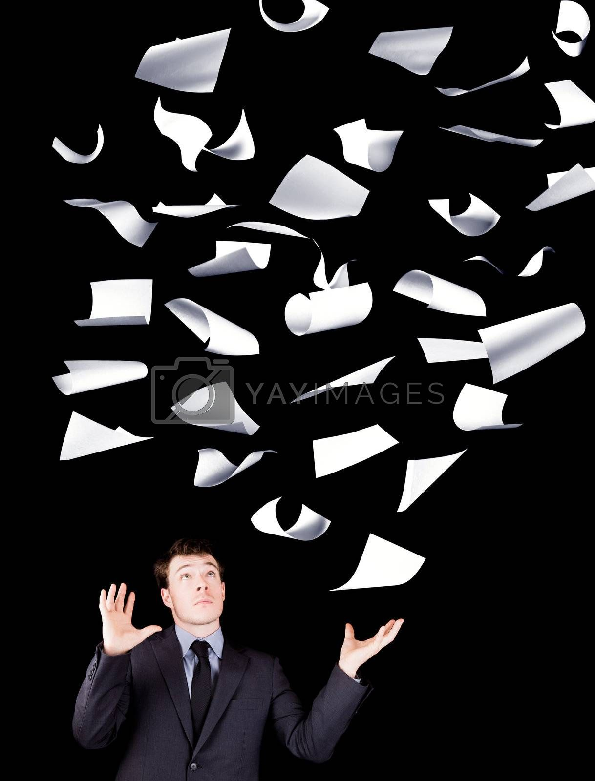Businessman with perfect control of its business isolated on black background