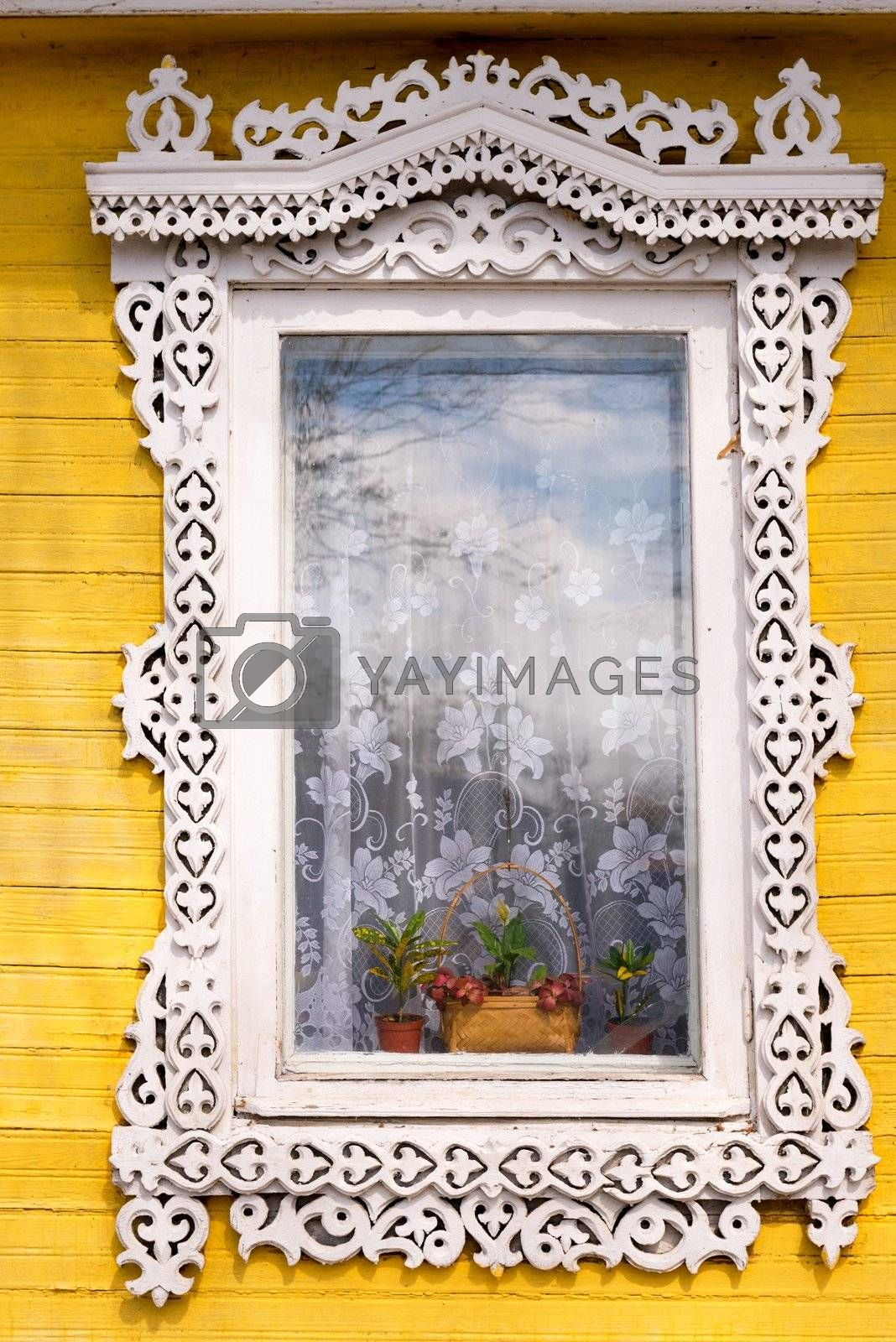 Traditional Russian wooden window in Nizniy Novgorod, Russia