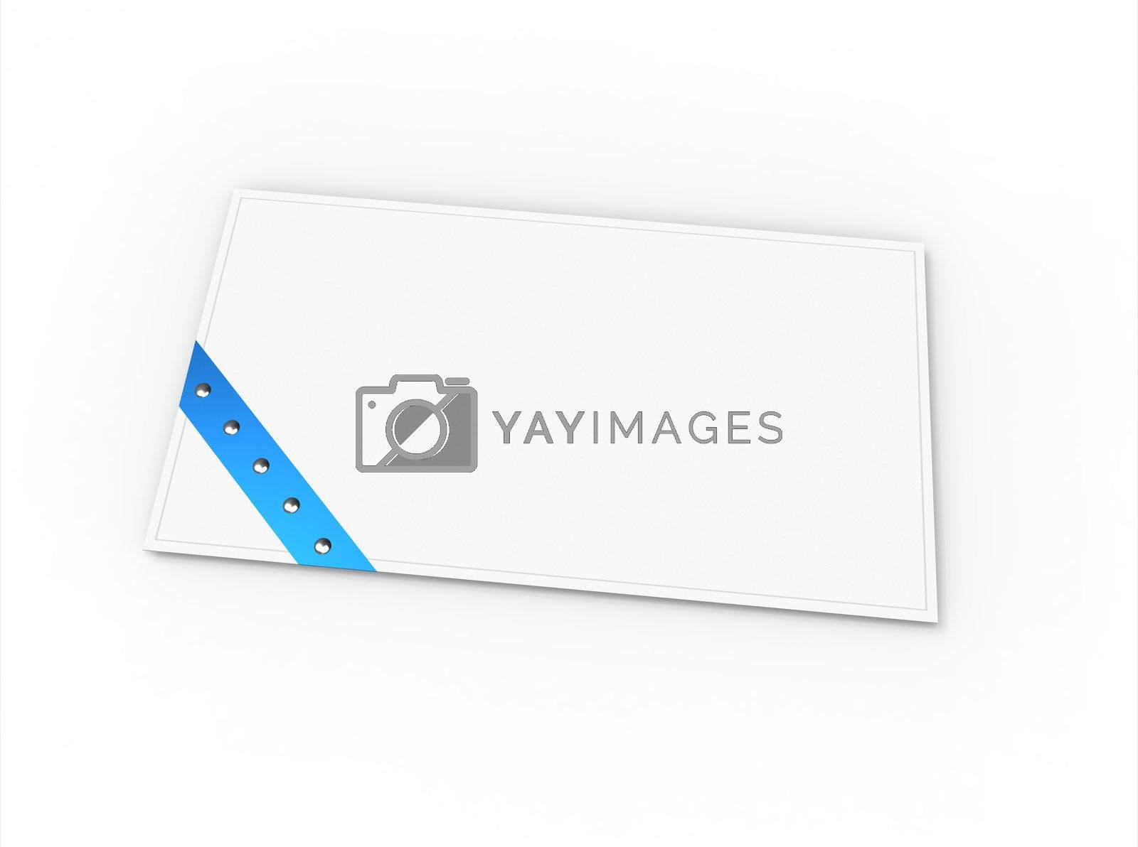 Blank greeting card (for greeting or congratulation) with blue ribbon