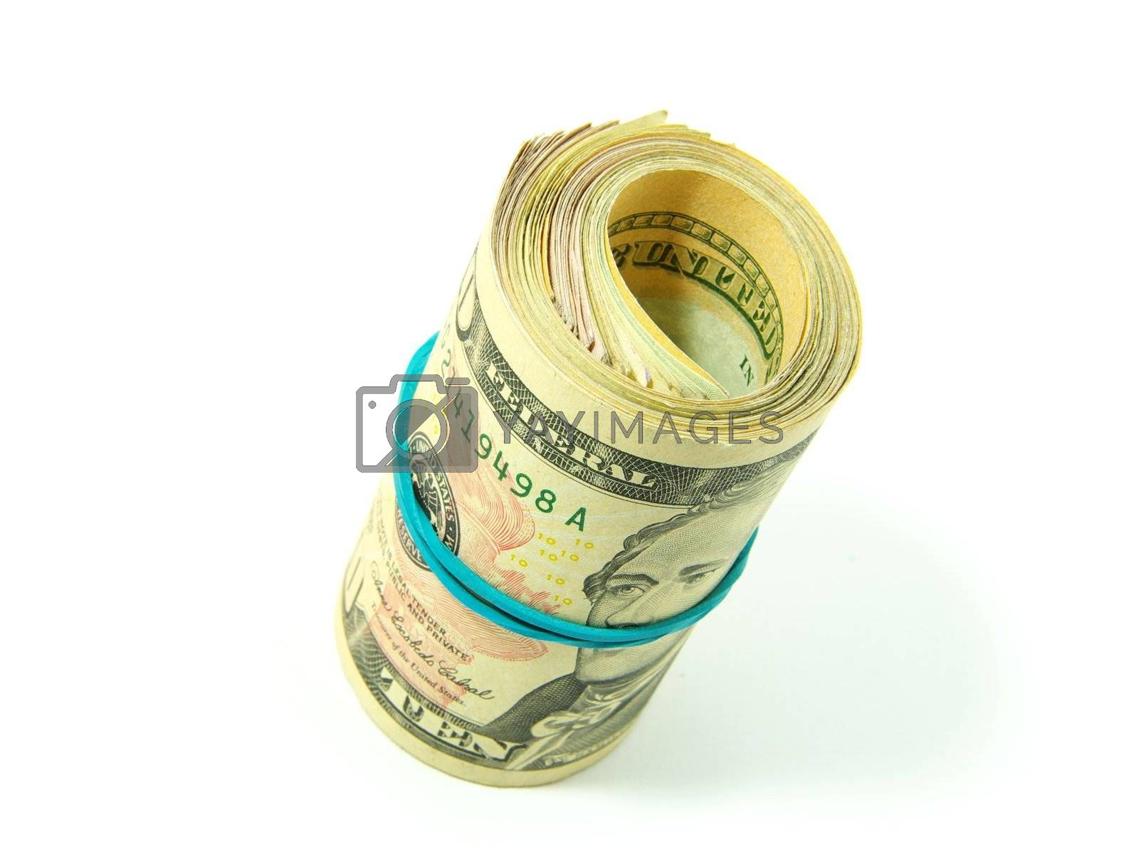 Roll of dollars close-up against white background.