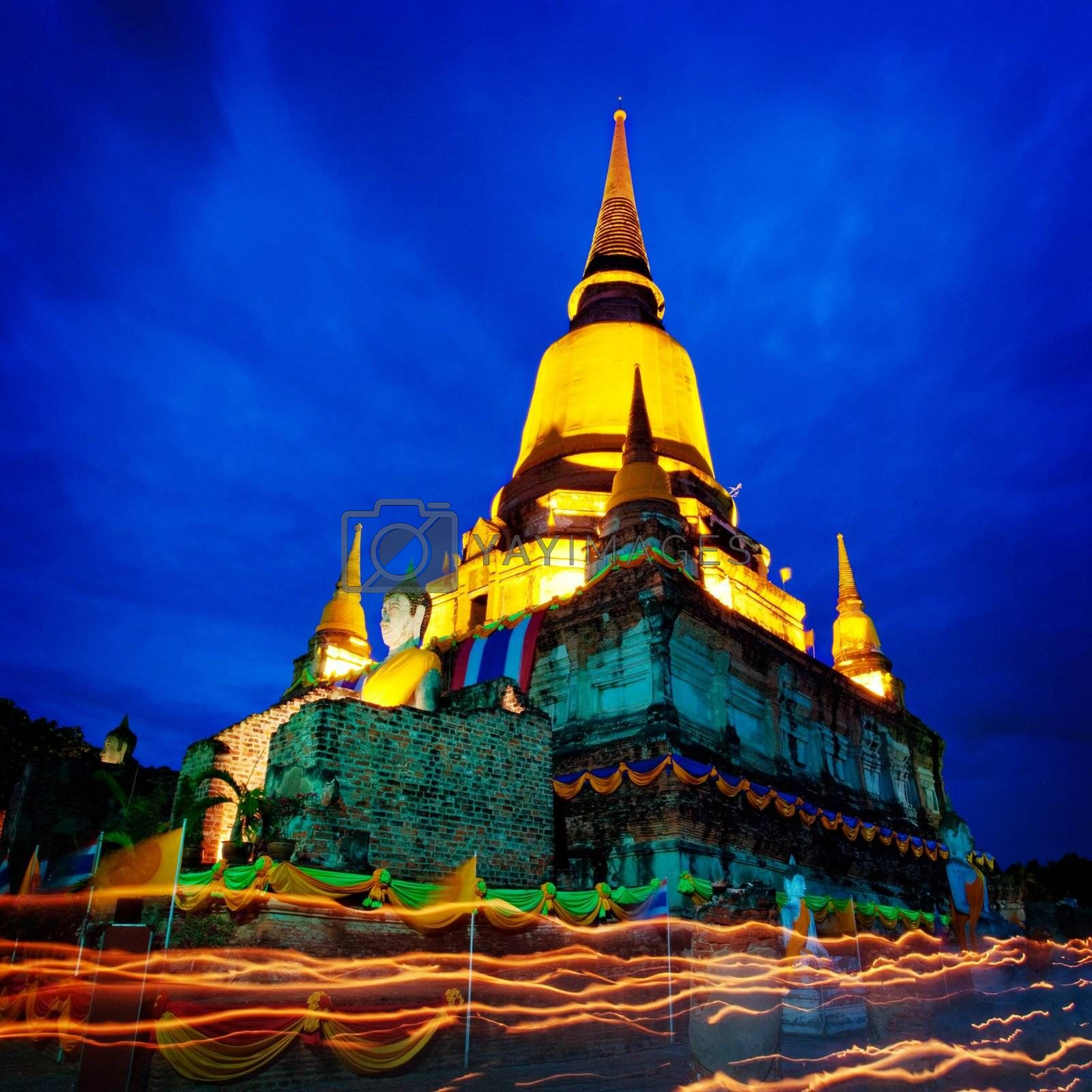 wat yai chaimongkol in Ayutthaya, Thailand