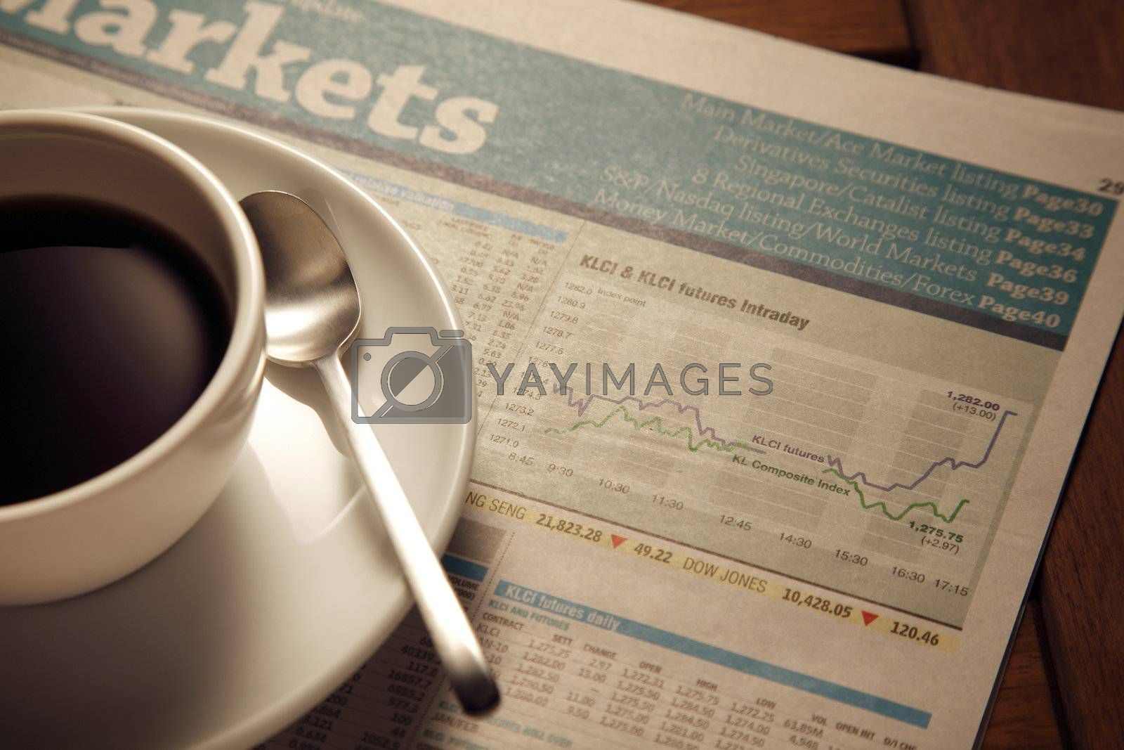 still life of newspaper with the coffee