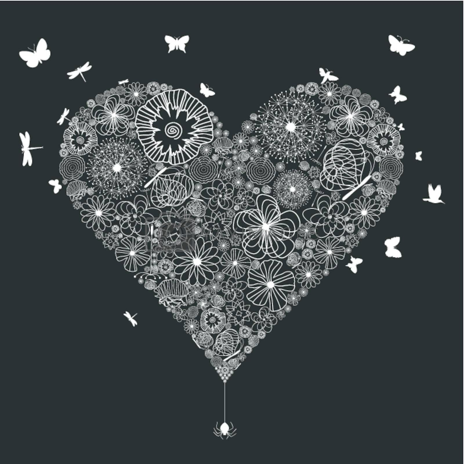 White wedding heart on a black background. A vector illustration