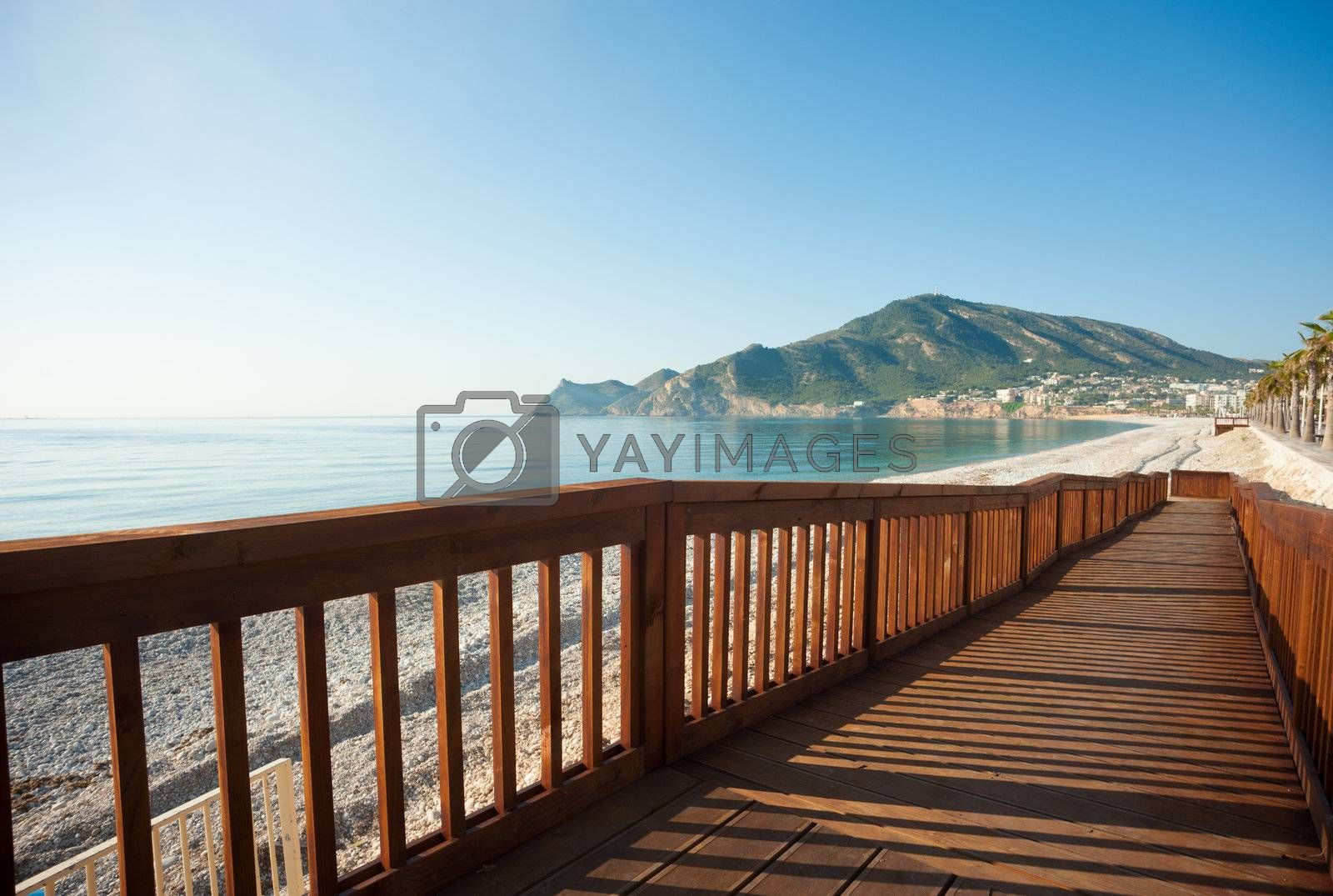 A user friendly walkway leading down to the beach from the promenade