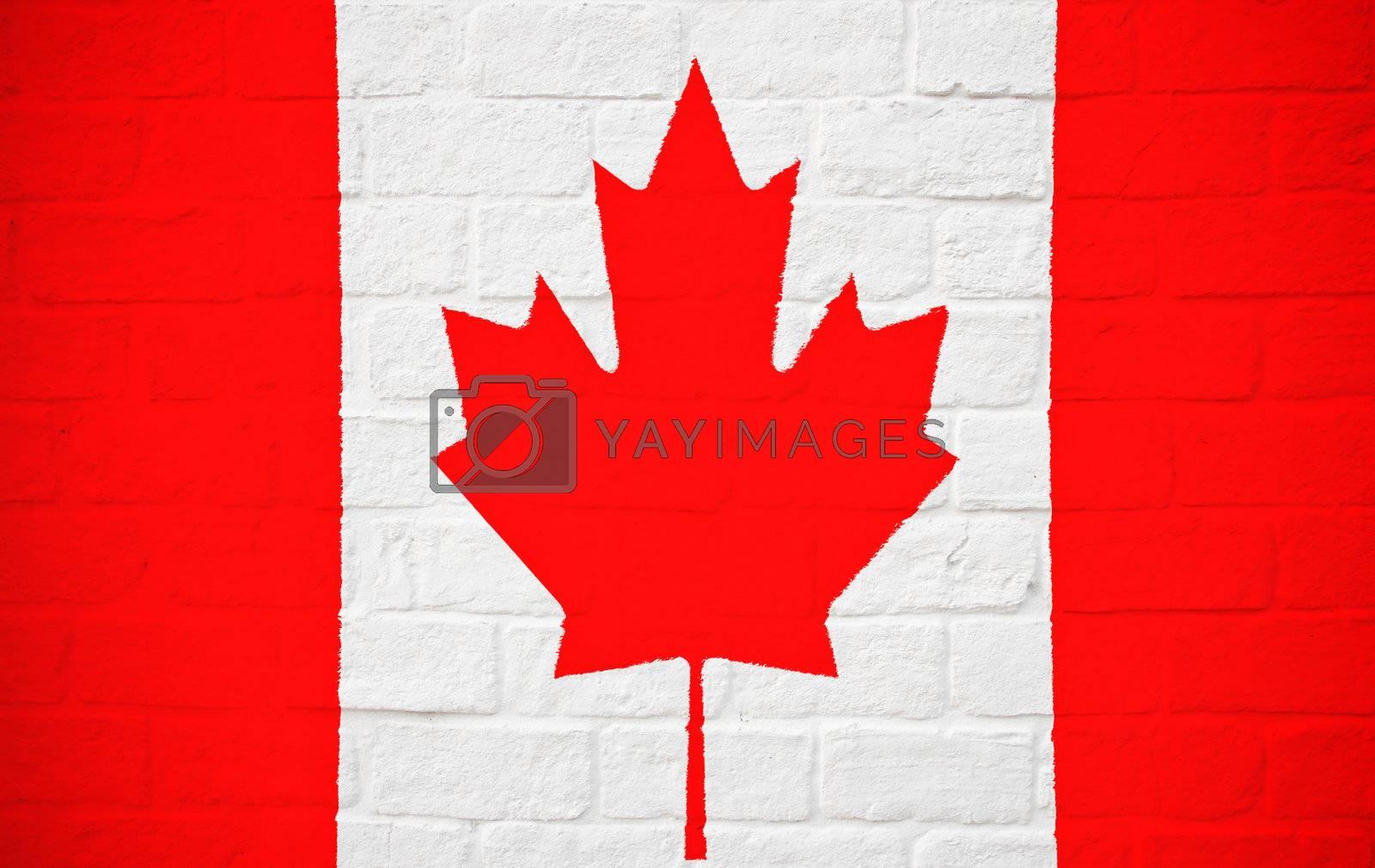Canada flag on brick wall