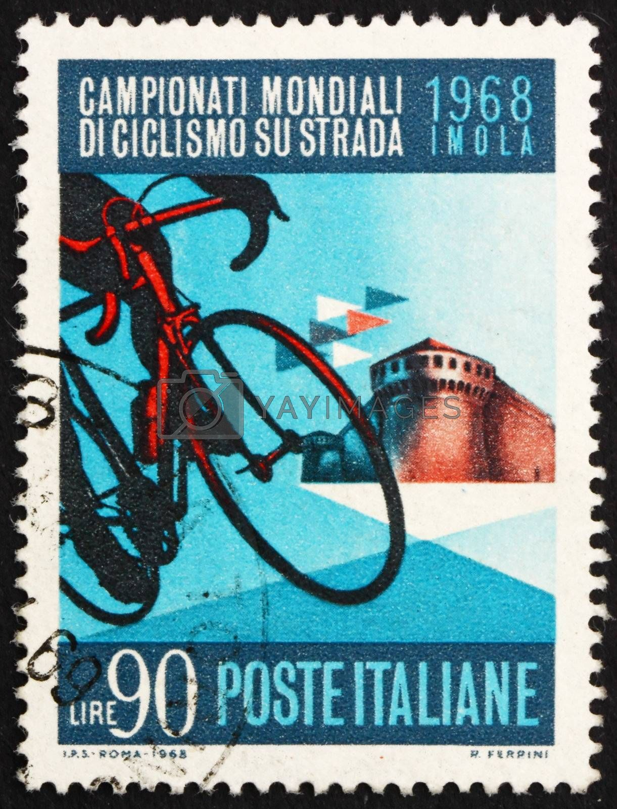 ITALY - CIRCA 1968: a stamp printed in the Italy shows Bicycle and Sforza Castle, Imola, the Road Championships at Imola, circa 1968