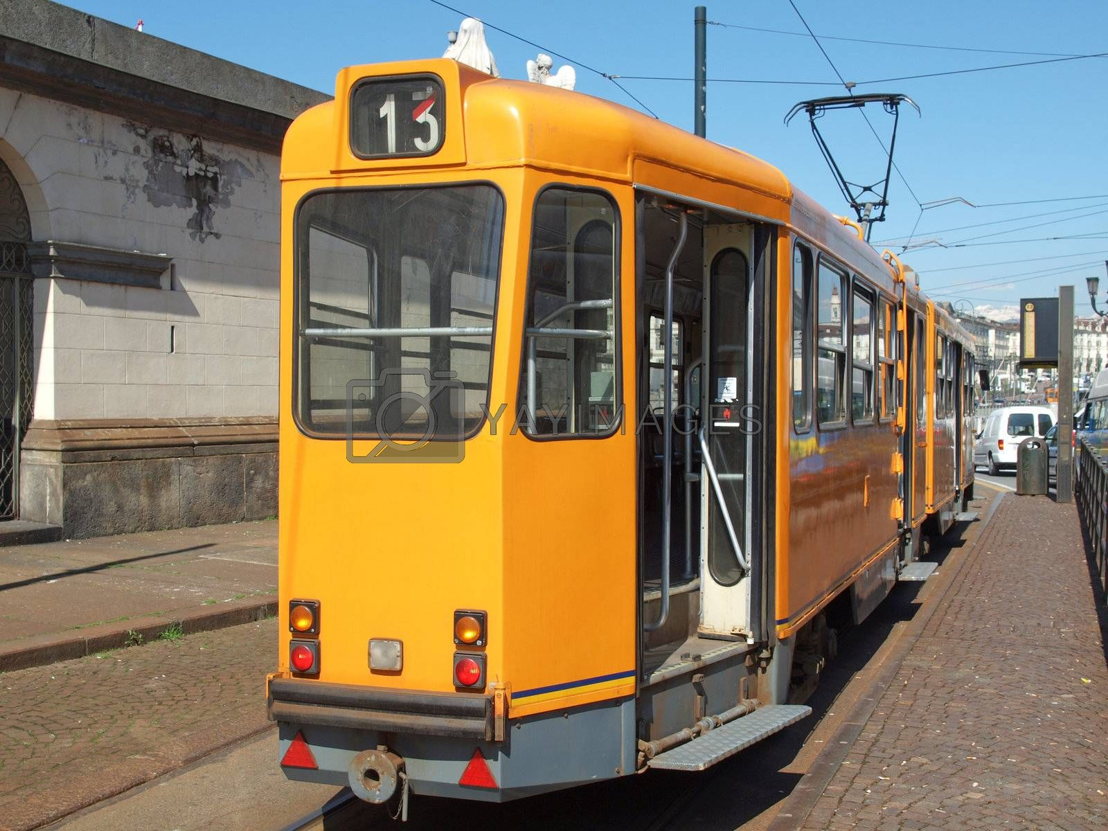 Tramway train for public transport mass transit in Turin, Italy