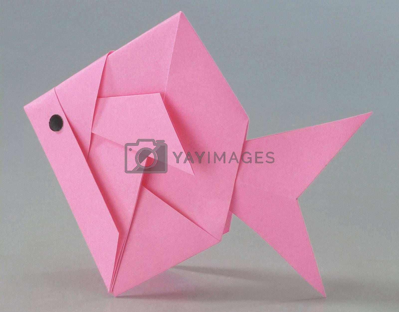 Paper folded into a fish.