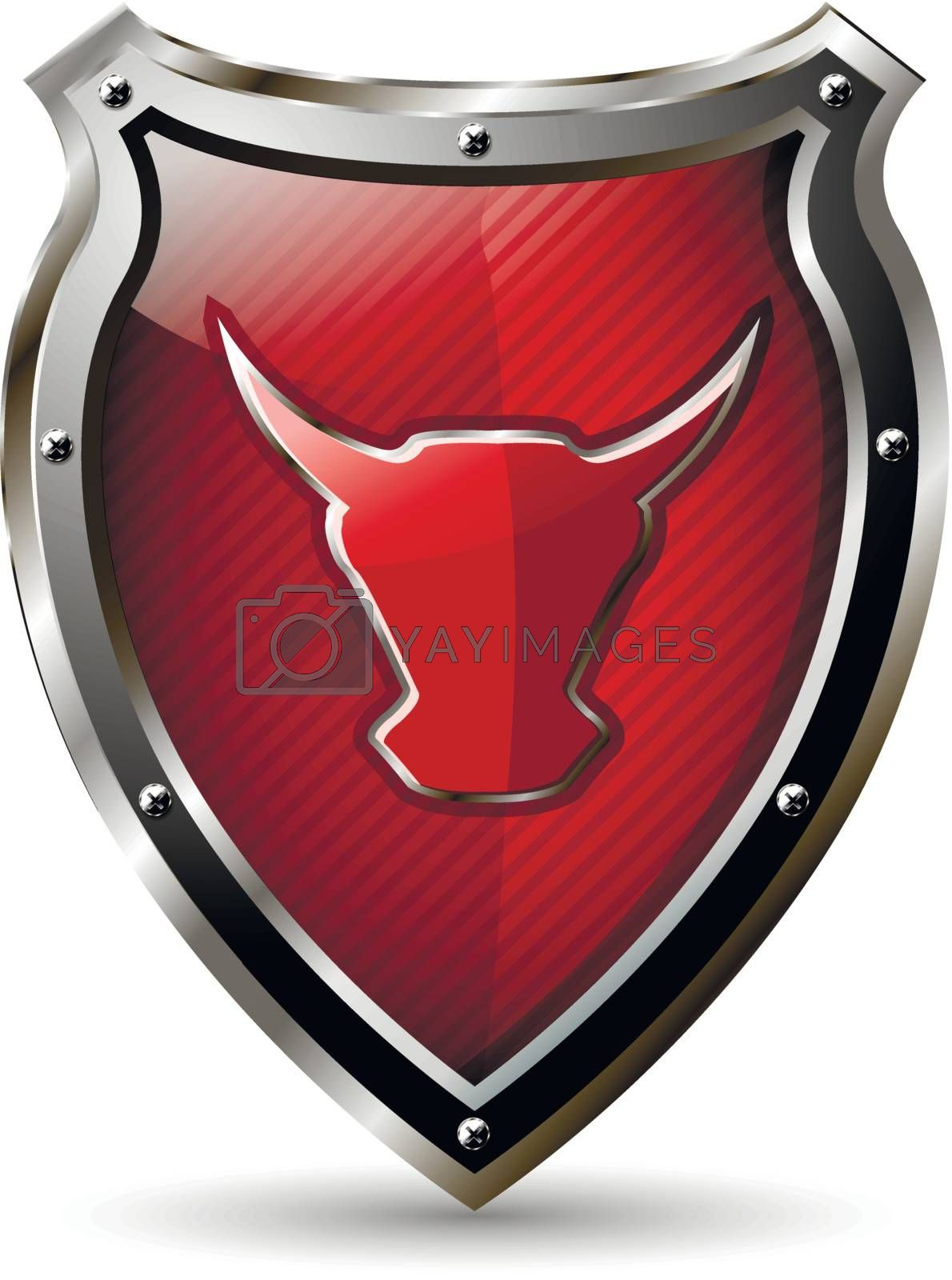 illustration of an abstract metallic shield with the red bull