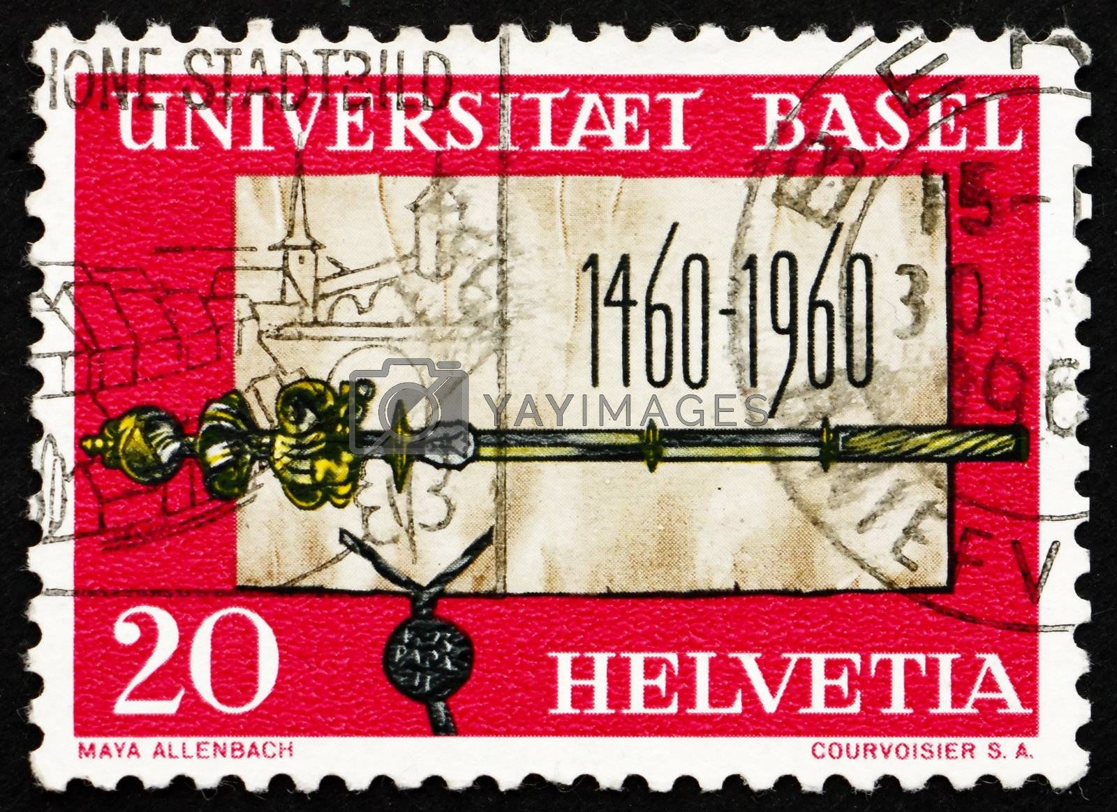 SWITZERLAND - CIRCA 1960: a stamp printed in the Switzerland shows Founding Charter and Scepter of University of Basel, 500th Anniversary, circa 1960