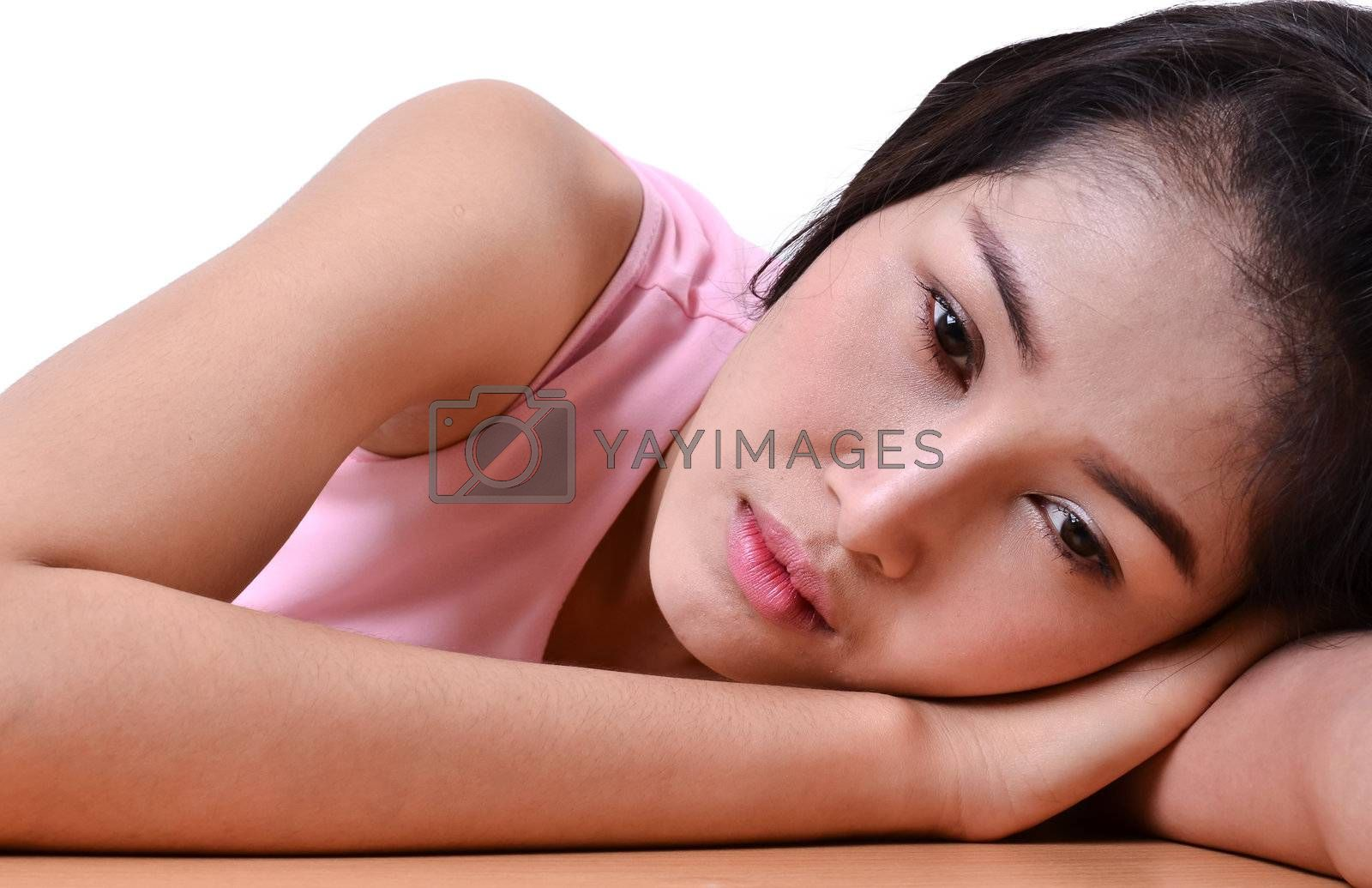 Royalty free image of portrait of sad pretty girl by anankkml