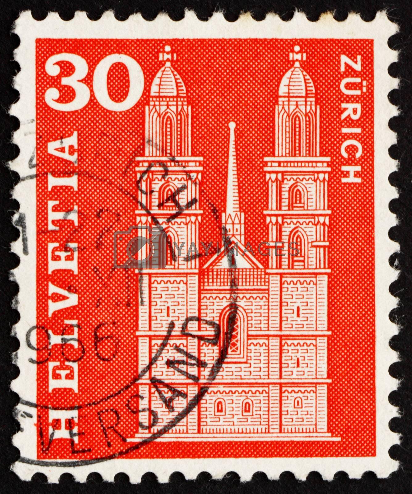 SWITZERLAND - CIRCA 1960: a stamp printed in the Switzerland shows Grossmunster Church, Zurich, circa 1960
