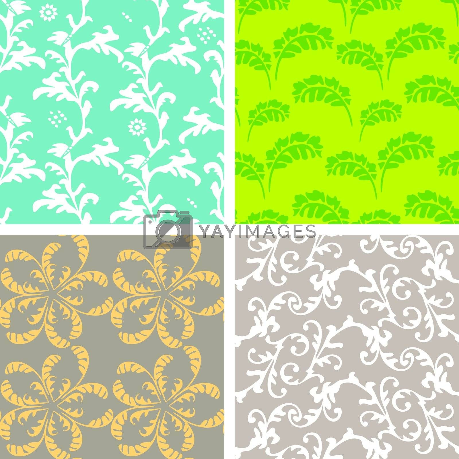 Decorative graphic color curly seamless background patterns