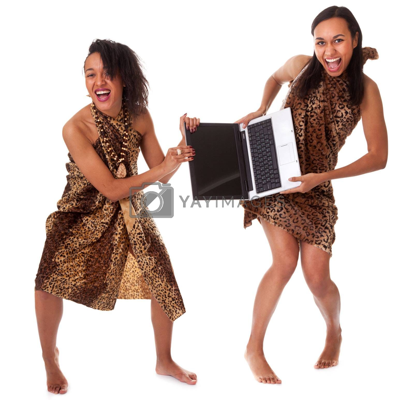 Competition between two barefoot girls in animal print for one laptop