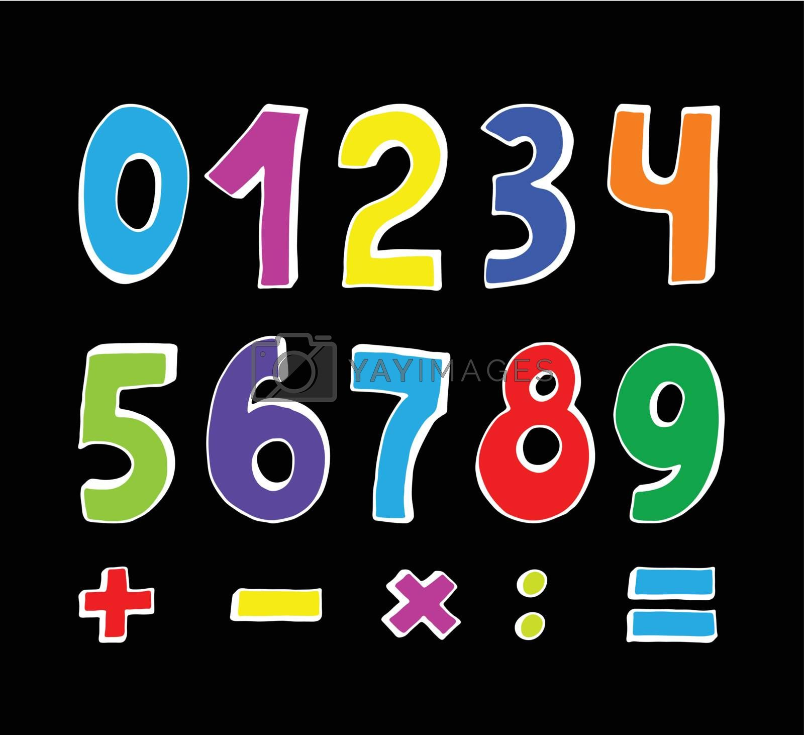 set of color numbers on black background