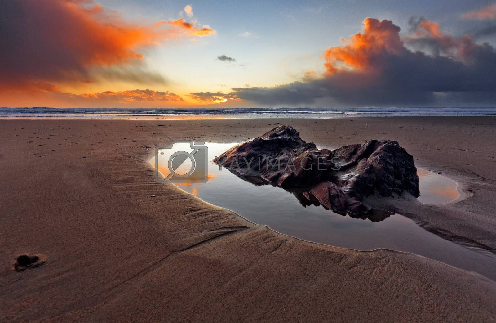 Royalty free image of Cornish reflections in Cornwall, UK by andyfox