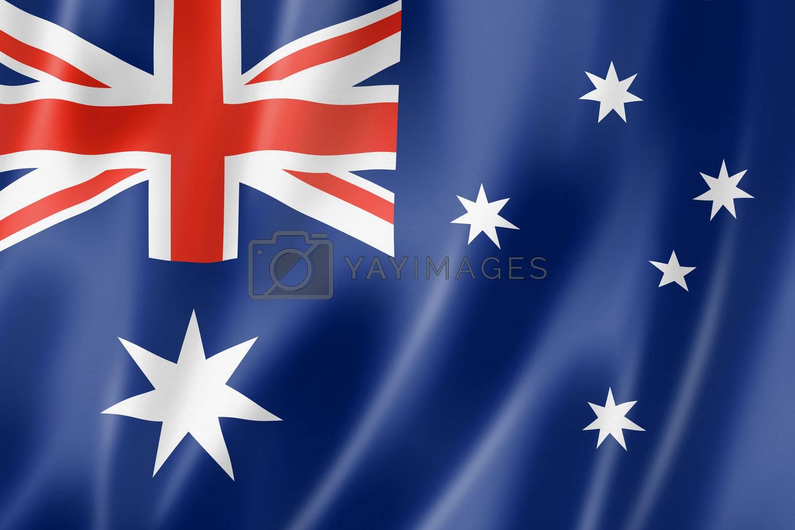 Australia flag, three dimensional render, satin texture