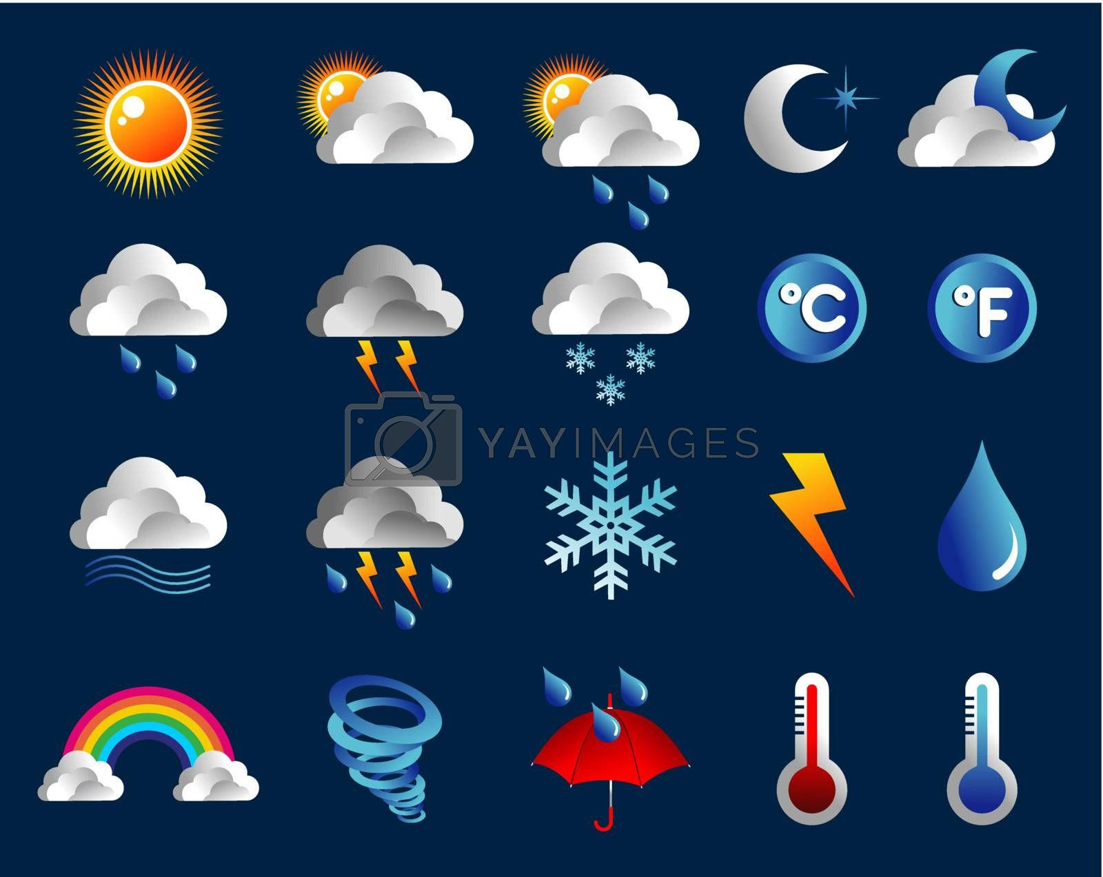 Climate icons set over blue background. Vector file layered for easy manipulation and custom coloring.