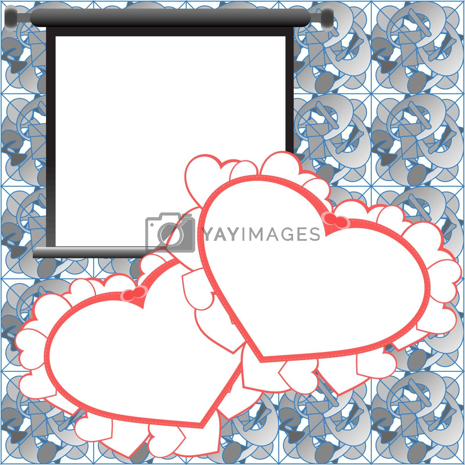 Red Valentine card, holiday background with photo frames, hearts and love text