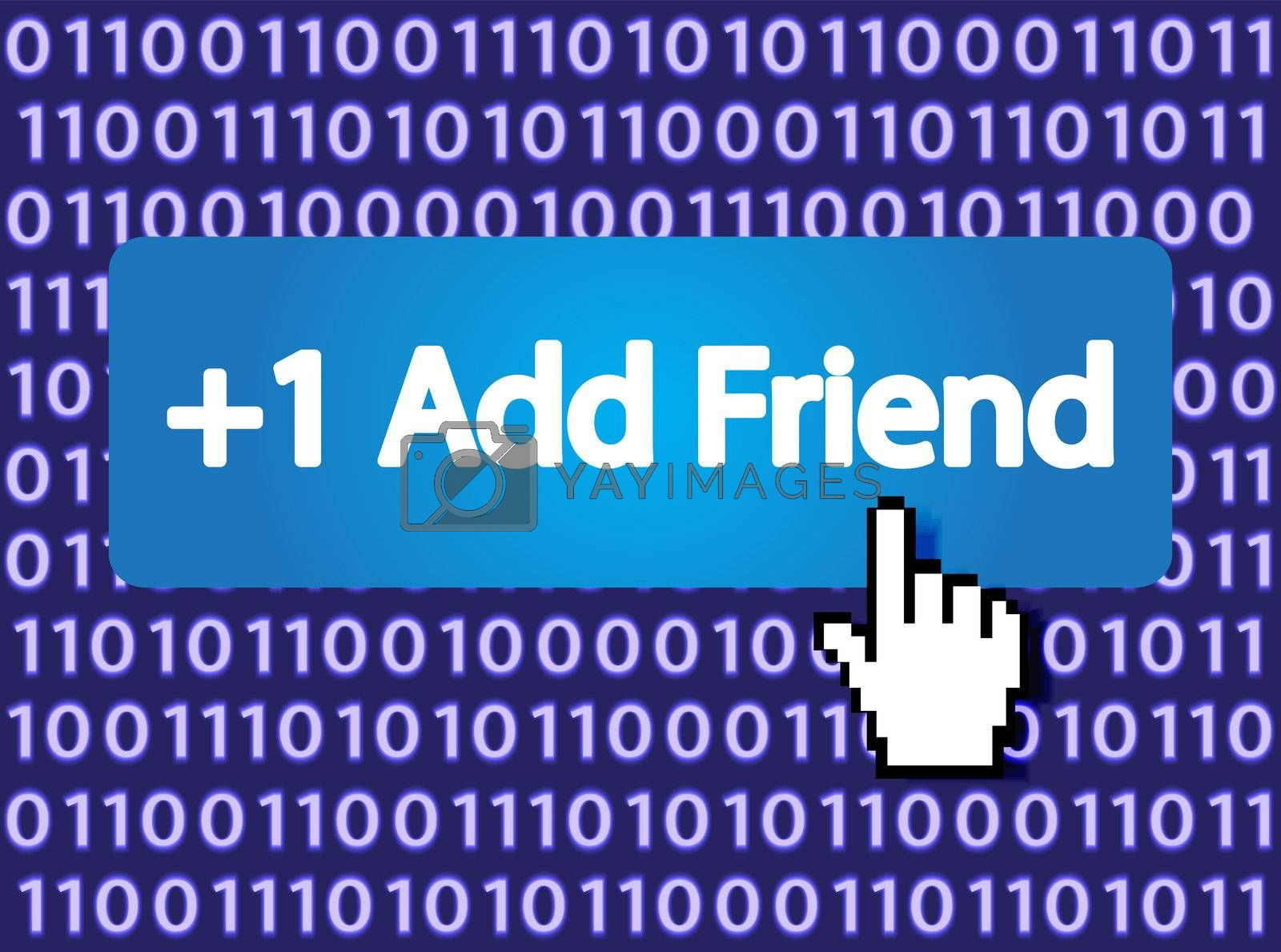 +1 Add Friend Button with Hand Cursor. Vector Illustration.