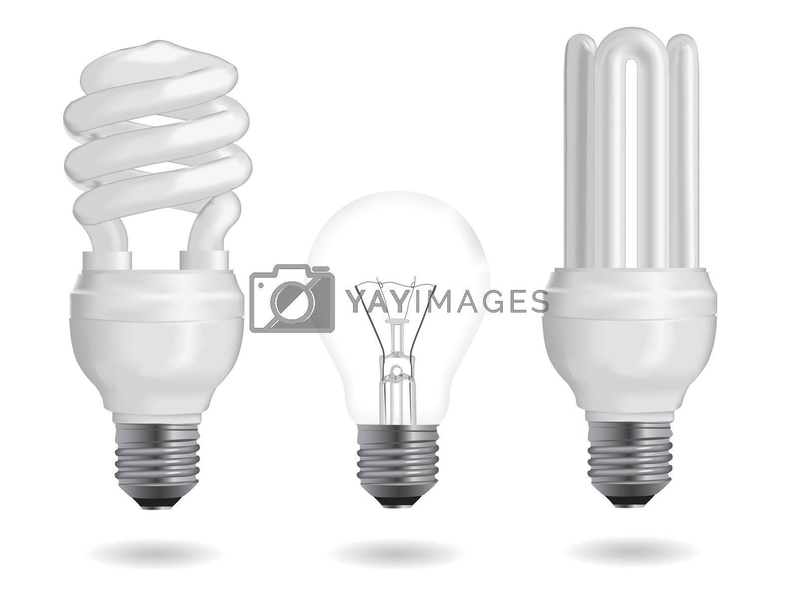 Incandescent and fluorescent energy efficiency light bulbs. Vector Illustration.