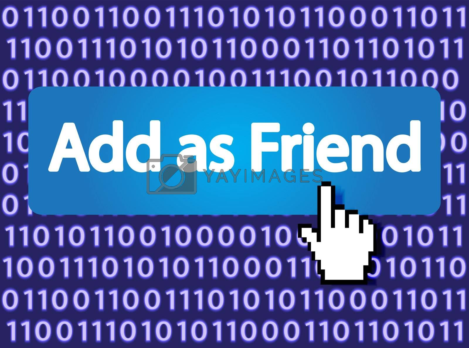 Add as Friend Button with Hand Cursor. Vector Illustration.