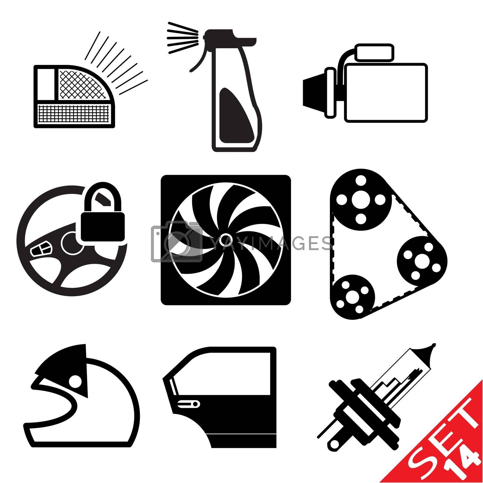 Car part icon set 14 by smoki